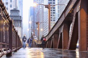 Rainy day view of Chicago bridge